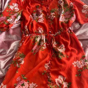 Orange Floral Full Length Dress Small 🍊